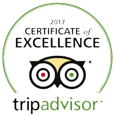 Trip Advisor logo with 2017 Certificate of Excellence above.